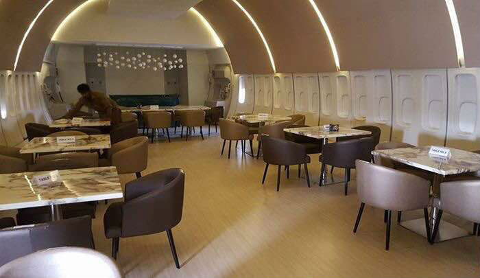 Grounded boeing turned into high end dining hall in