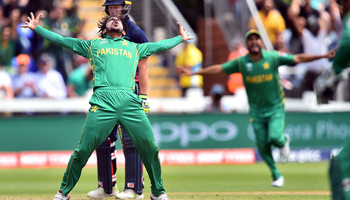 Hasan Ali celebrates taking the wicket of England´s Eoin Morgan for 33 runs during the ICC Champions Trophy semi-final cricket match between England and Pakistan in Cardiff - AFP