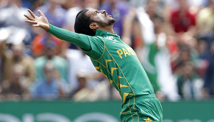 Pakistan´s Hasan Ali celebrates after taking the wicket of England´s Eoin Morgan (not pictured) -AFP