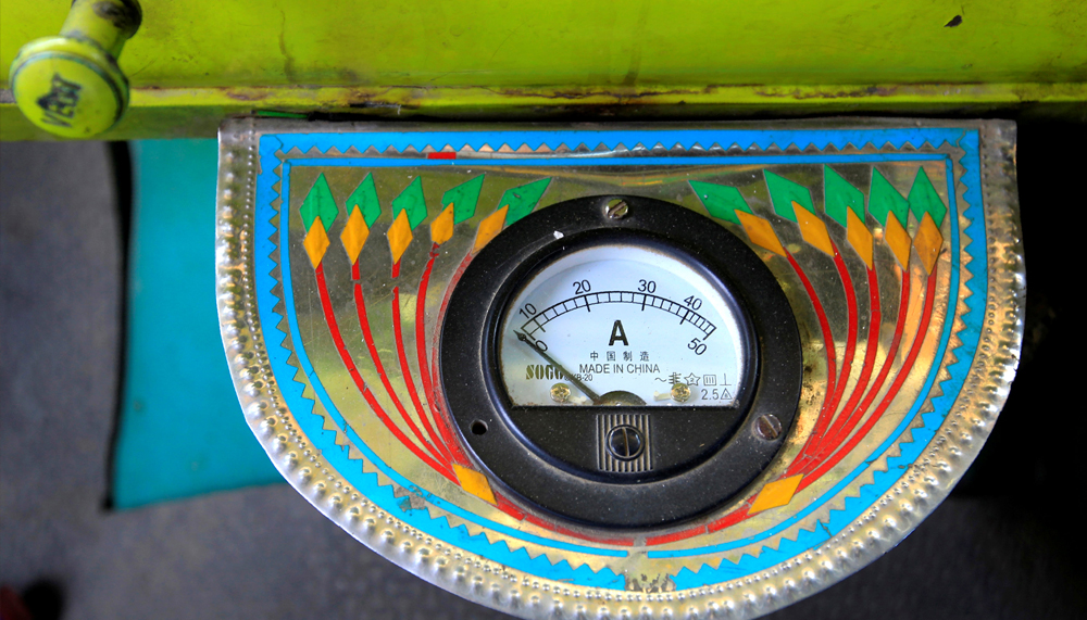 An electric gauge is seen in the cab of a decorated truck in Faisalabad, Pakistan, May 4, 2017. REUTERS/Caren Firouz