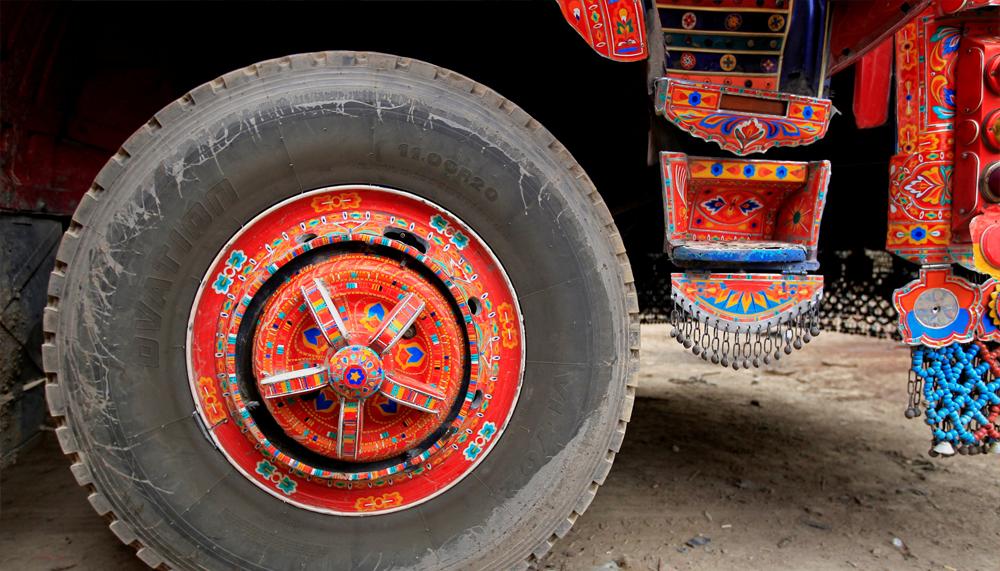 Artwork is seen on a decorated truck outside Faisalabad, Pakistan, May 3, 2017. REUTERS/Caren Firouz