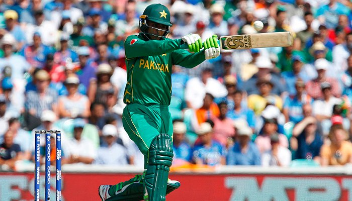Fakhar Zaman hits a shot during the ICC Champions Trophy final cricket match between India and Pakistan at The Oval - AFP