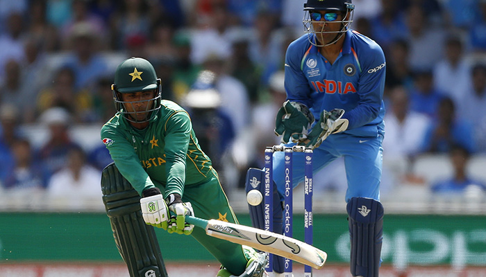 Pakistan's Fakhar Zaman plays a shot during the final - Reuters