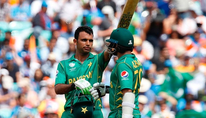 Fakhar Zaman celebrates after scoring fifty in the final - AFP