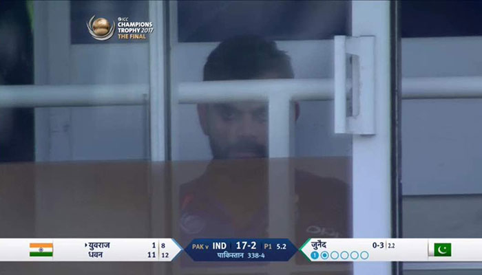 Photo shows Indian captain in a tense state as Pakistan close in on massive victory.