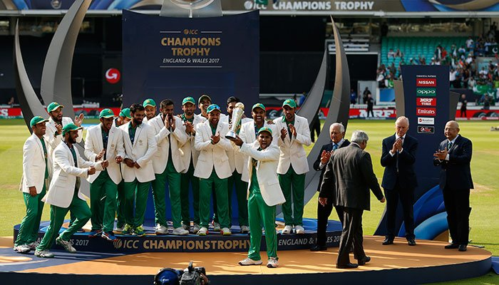 Pakistan players lift the trophy to celebrate their win at the presentation after the ICC Champions Trophy final cricket match between India and Pakistan at The Oval in London on June 18, 2017.