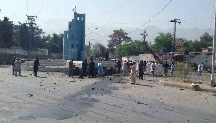 At least five people, including a policeman, were killed and around a dozen injured in an explosion near the inspector general of police office early Friday. Photo: Geo News