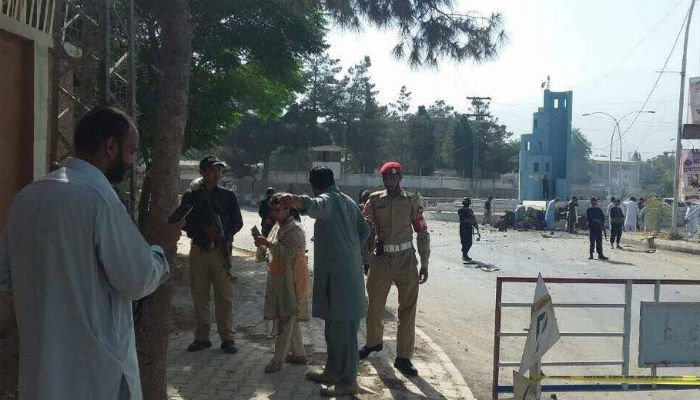 Security forces have cordoned off the site of the blast. Photo: Geo News