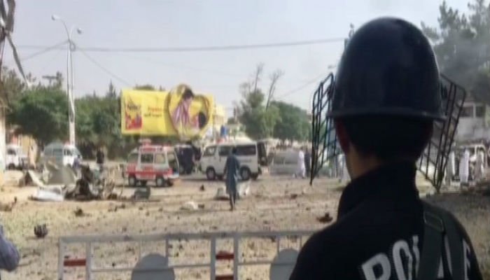 Security officials told Geo News nature of the blast has not been ascertained yet. Photo: Geo News
