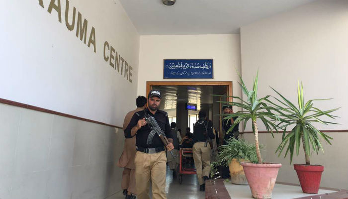 Immediately after the explosion, security of Civil Hospital was tightened with police officers deployed at all entry and exit points of the premises. Photo: Geo News