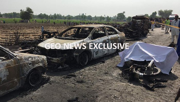 Vehicles burnt to ashes after the oil tanker caught fire.