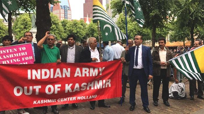 Kashmiris in Europe protest Indian police brutality during Modi's visit to Netherlands