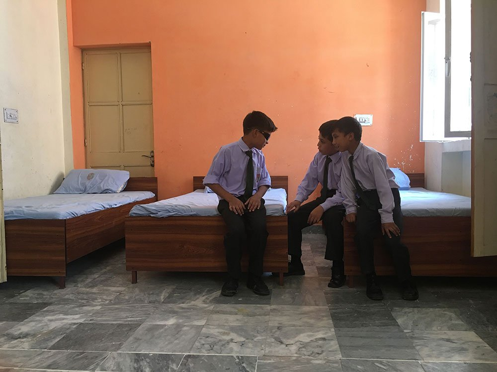 Students catching up in the dormitory