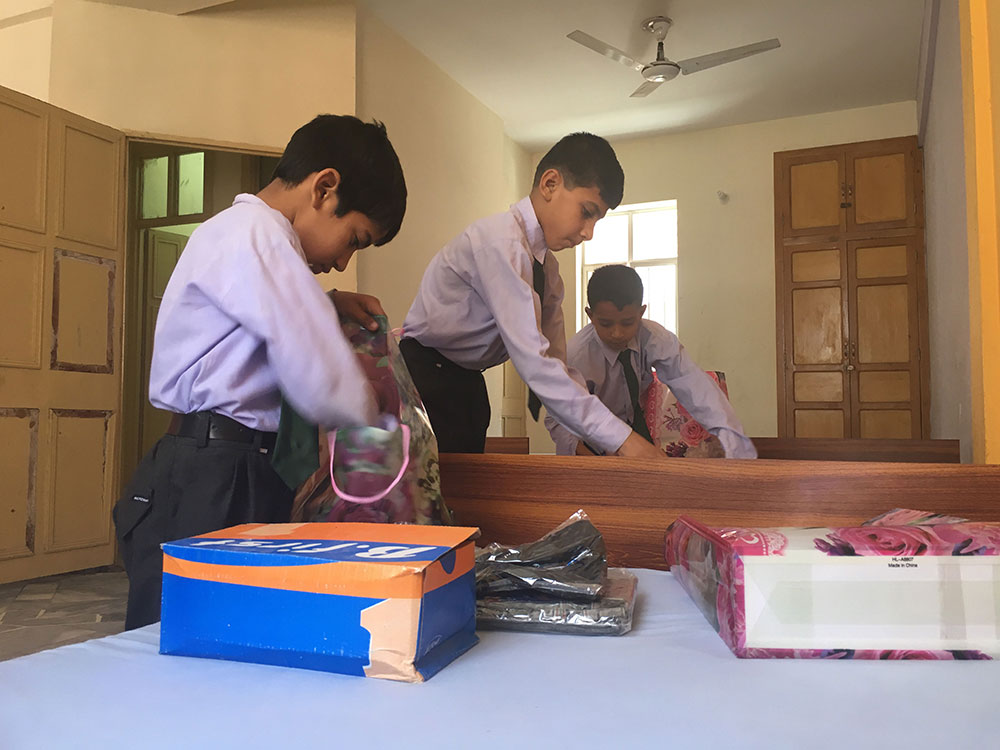 Packing away their things