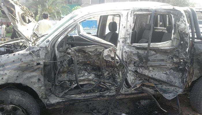 The suicide bomber targetted the FC vehicle