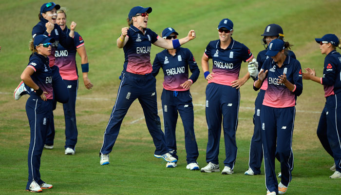 Heather Knight leads England celebration during match against Australia
