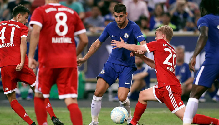 Chelsea's Alvaro Morata in action during the match against Bayern Munich in Singapore