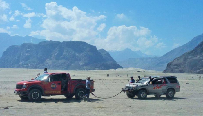 Participating jeeps pictured at the second day of the rally. Photo: Hamid Hussain