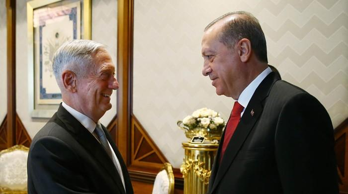 Erdogan tells visiting US defence chief 'uneasy' over arming Kurds