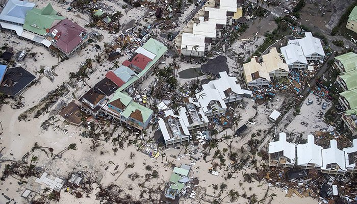 An aerial photography taken and released by the Dutch department of Defense on September 6, 2017 shows the damage of Hurricane Irma in Philipsburg, on the Dutch Caribbean island of Sint Maarten - AFP