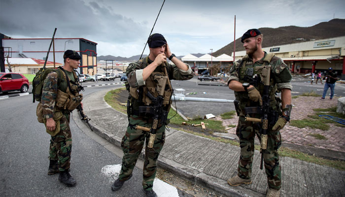 Dutch soldiers patrol the streets of Dutch part of Saint Martin island in the Carribean after the Hurricane Irma, September 7, 2017, Netherlands Ministry of Defence- Gerben van Es/Handout via REUTERS
