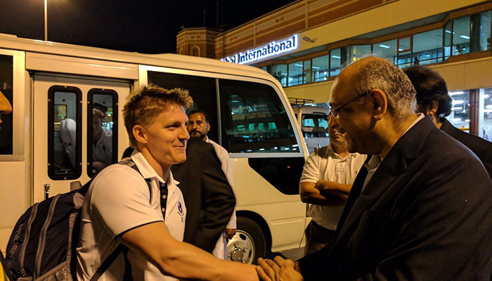 World XI players arrive at the Allama Iqbal Airport in Lahore Pakistan
