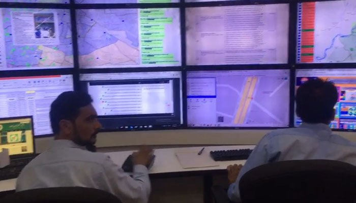 Police control room for NA 120 by-election. Photo: Geo News