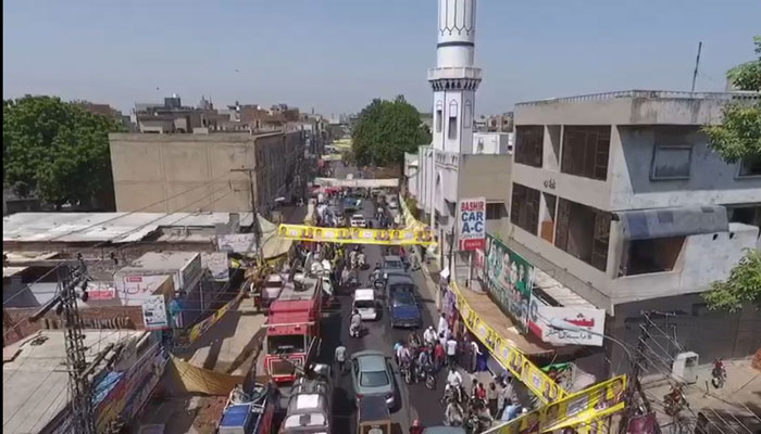 An aerial view of NA 120 constituency. Photo: Geo News