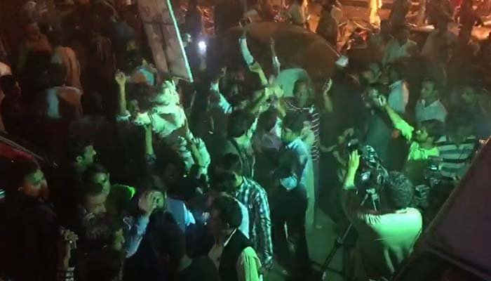 Supporters of PML-N celebrate in NA-120. Photo Geo News