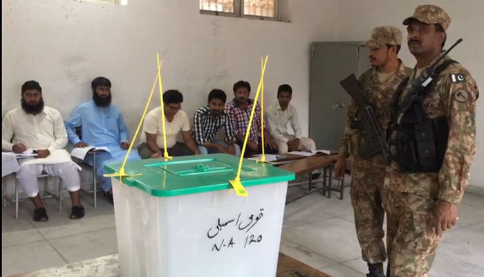 Army personnel in a polling station. Source: Geo News