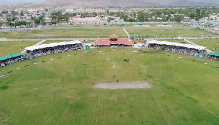 An aerial view of the cricket ground in Miranshah. Photo: Peshawar Zalmi