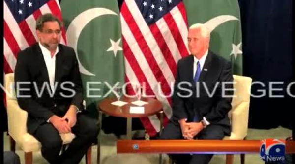 وزیراعظم شاہد خاقان عباسی کی نائب امریکی صدر مائیک پنس سے ملاقات