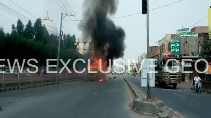Students set six buses on fire in Faisalabad after classmate is run over