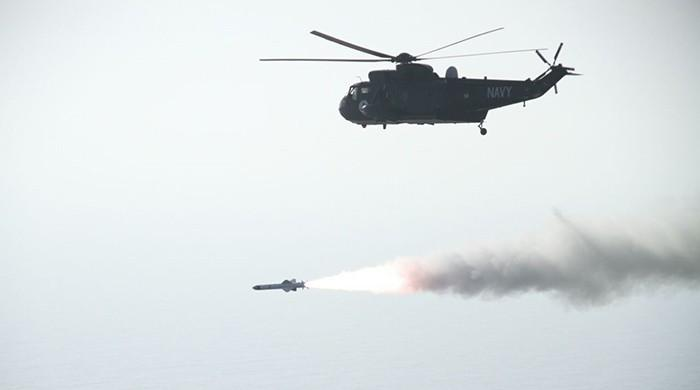 Pakistan Navy performs live missile firing in Arabian Sea