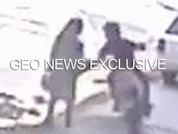 A screengrab — taken from the CCTV footage released by Karachi Police and obtained by Geo.tv — shows the knife-wielding suspect about to attack one of his victims in Karachi, Pakistan. Geo.tv via Geo News