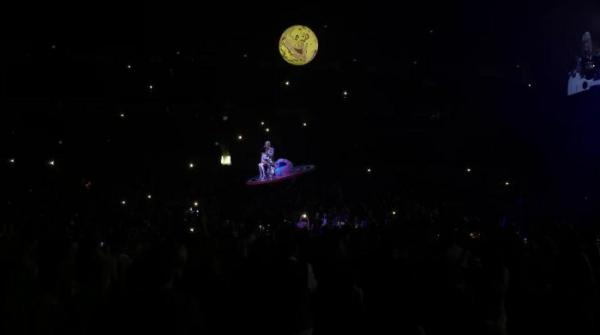 Katy Perry gets stuck suspended above her crowd during a concert
