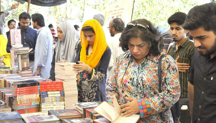 A book festival is also being held during the Sindh Literature Festival. Photo: Shoaib Ahmed/Jang