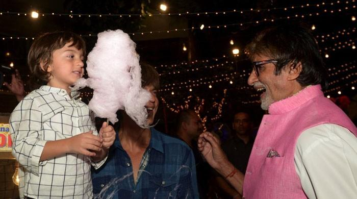 Big B, SRK shower AbRam with 'delectable' cotton candy love
