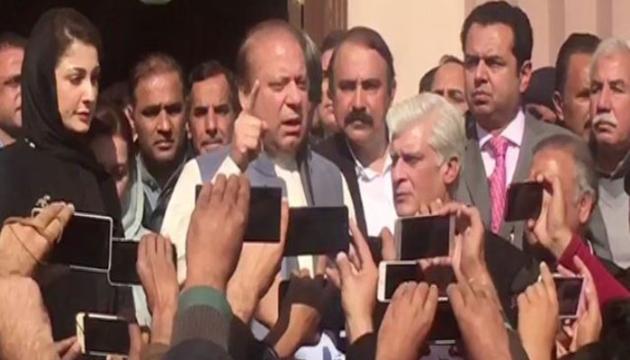 Former PM Nawaz Sharif speaking to the media Nov 22 2017
