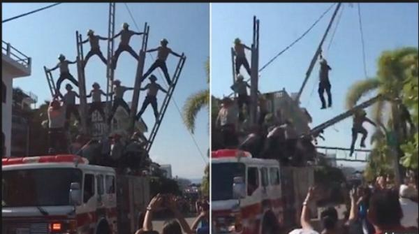 Firefighters form human pyramid but fall in Mexico