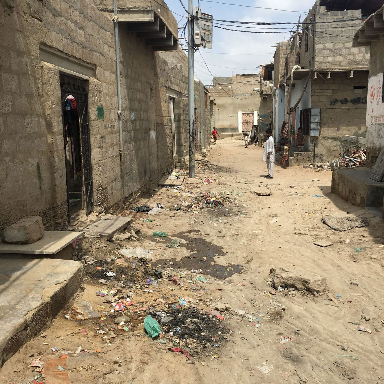 A street in Karachi's impoverished Arkanabad neighbourhood.