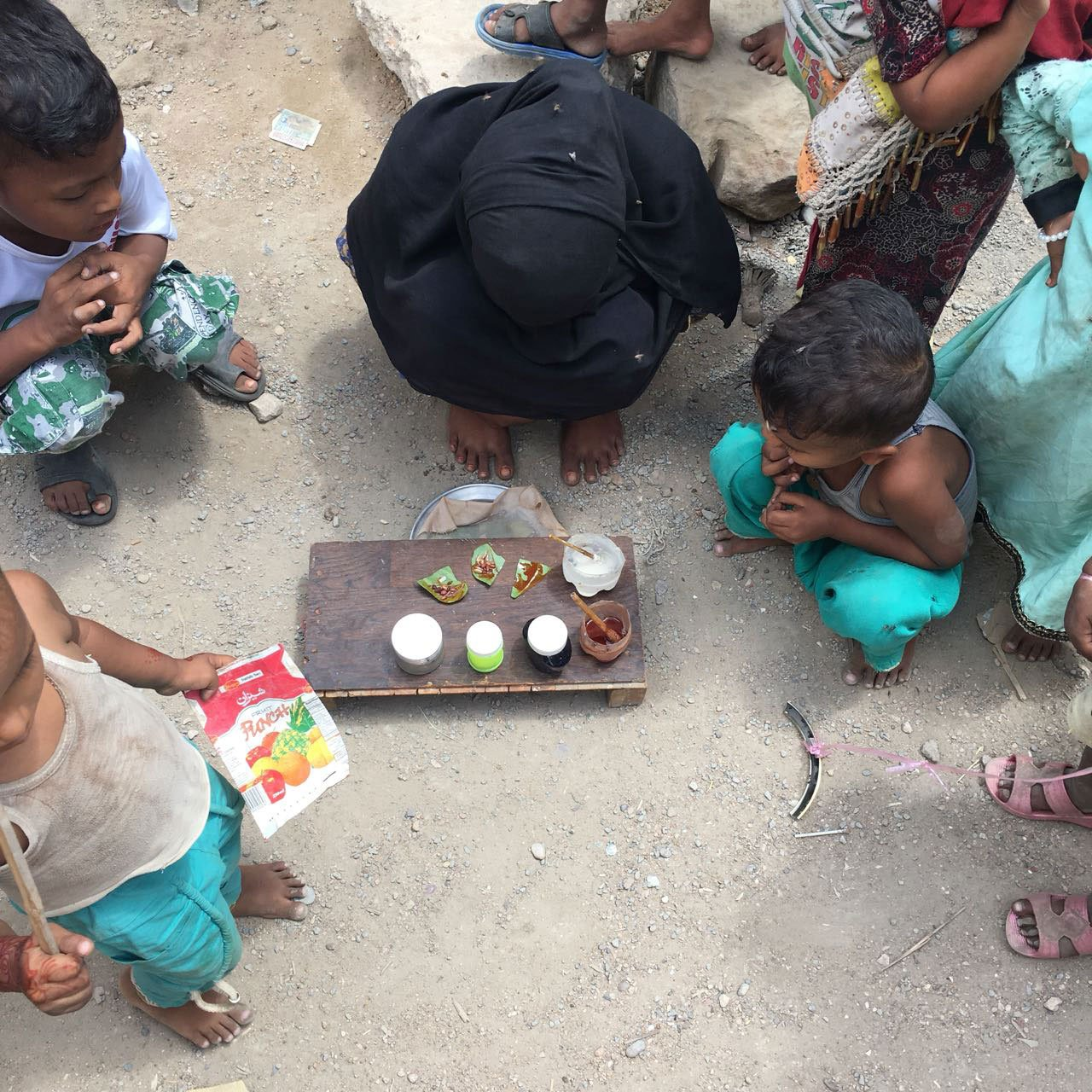 Children in Arkanabad selling paan (betel leaves).