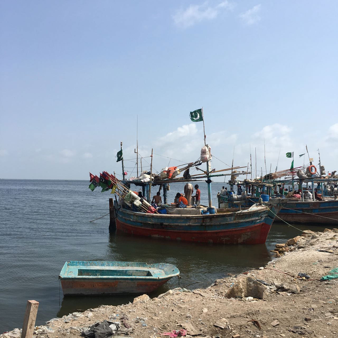 Fishing boats at Ibrahim Hyderi. In Arkanabad, a majority of the men are fishermen.