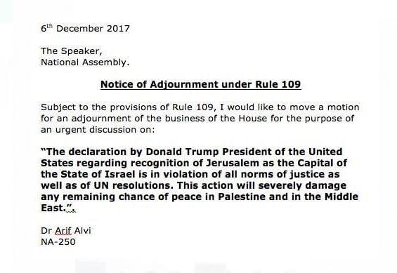 "Farooq Rehmani condemns USA proclamation on Jerusalem"""