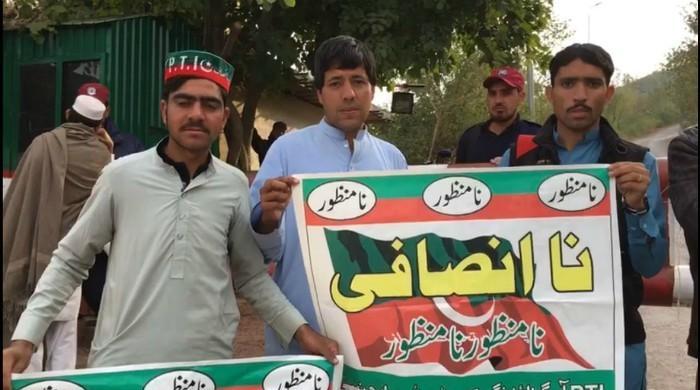 ISF FATA protests outside Imran's Bani Gala residence