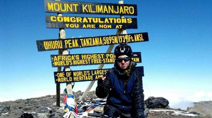Pakistani female cyclist Samar Khan summits Africa's highest peak