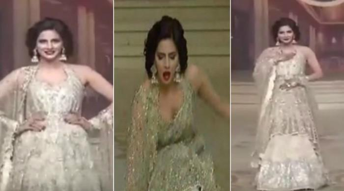 Saba Qamar keeps her cool after falling down on ramp