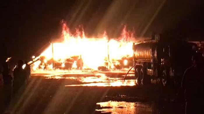 Karachi warehouse fire: Efforts to douse blaze underway