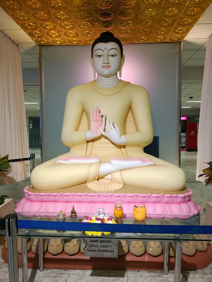 Statue of Buddha at Bandaranaike International Airport, Colombo. It is considered disrespectful having your back to Buddha statue- Picture credit: Nida M Hussain/Maria Shamim