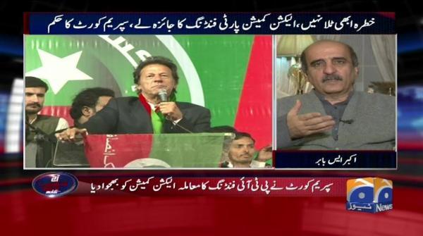 Supreme Court ne PTI funding ka moamla election commission ko bhej diya. Aaj Shahzeb Khanzada Kay Sath